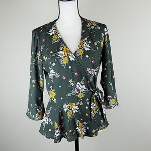 ⚡floral side tie blouse